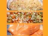 Mein Lachs wird mit Gemüse zugedeckt -oder – Auflauf mit Lachs in Gemüse-Sahne-Sauce