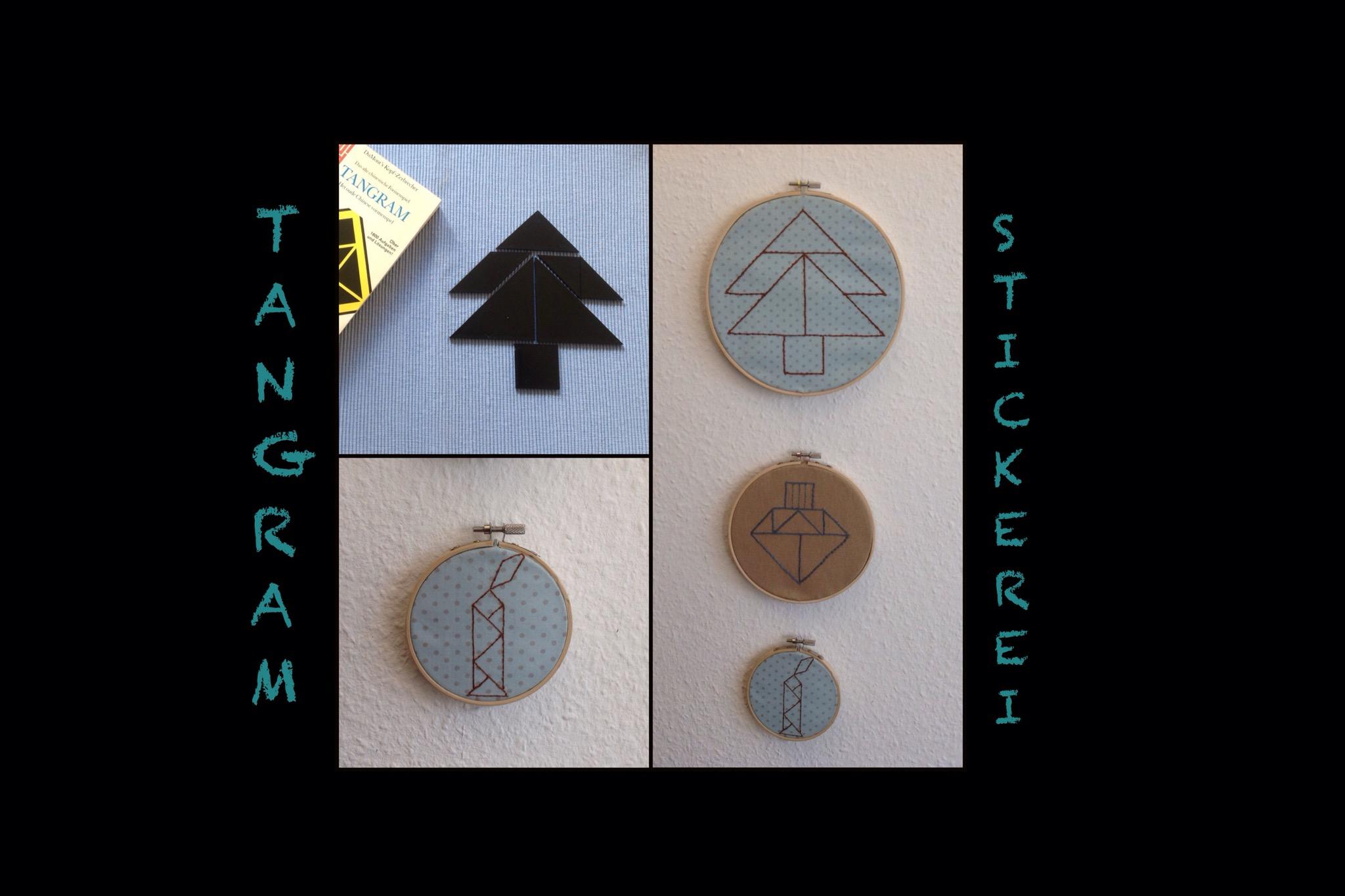 Jetzt geht es rund: Tangram gestickt – oder – Sticken wie die Lemminge