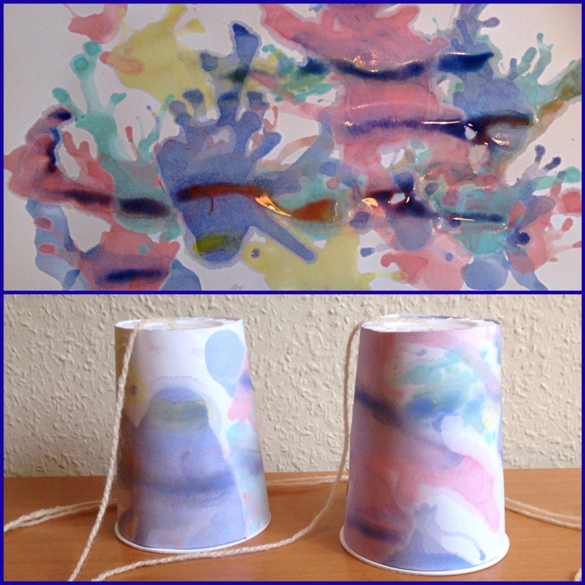 Das ist ja zum Pusten: Papier gestalten mit Wasserfarbe und Strohhalm - oder - Bechertelefon, bunt umklebt