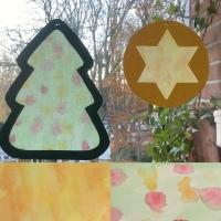 Basteln mit den Kleinsten - oder - Fensterbilder für die Weihnachtszeit: Tanne und Stern