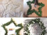 Begrünte Sterne und ein Kranz  – oder –  Vom Drahtkleiderbügel zurWeihnachtsdeko
