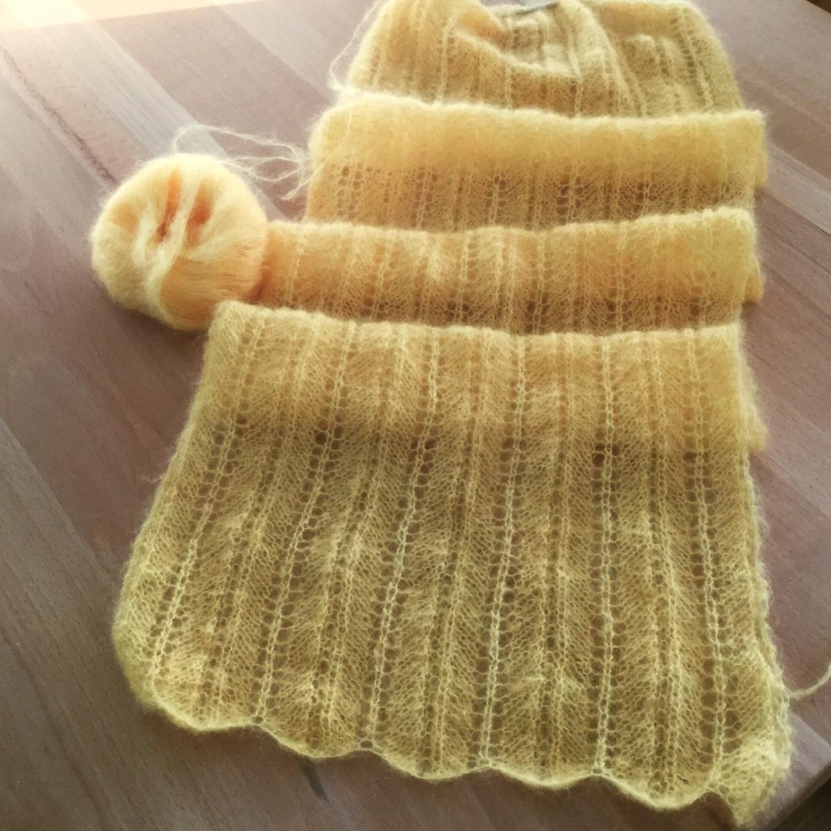 Sonnengelb und wärmend - oder - Schal aus Mohair-Seiden-Garn