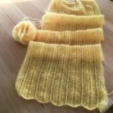 Sonnengelb und wärmend – oder – Schal aus Mohair-Seiden-Garn