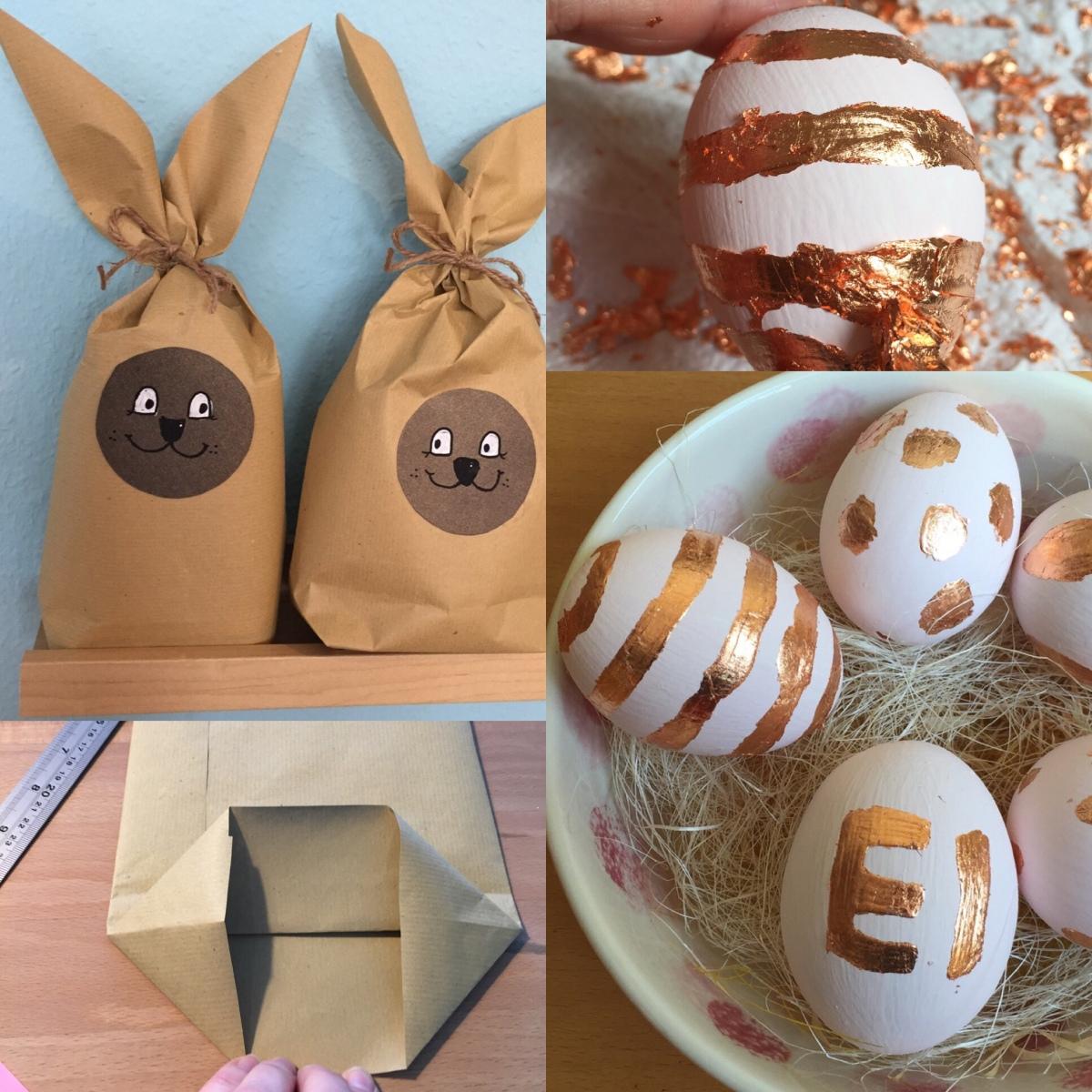 Zw🥚erl🥚um Huhn und Ei - oder - Last Minute DIY zu Ostern: Hasentüten zum Verpacken & Eier mit Blattmetall verzieren