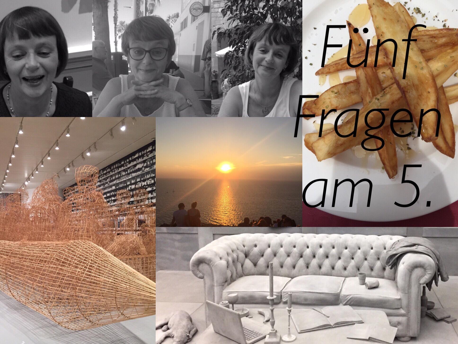 Fünf Fragen am 5. – oder – Vom Essen in Restaurants, Trash-TV, Haarigem, Team Sunset und Kunst zum Nachdenken