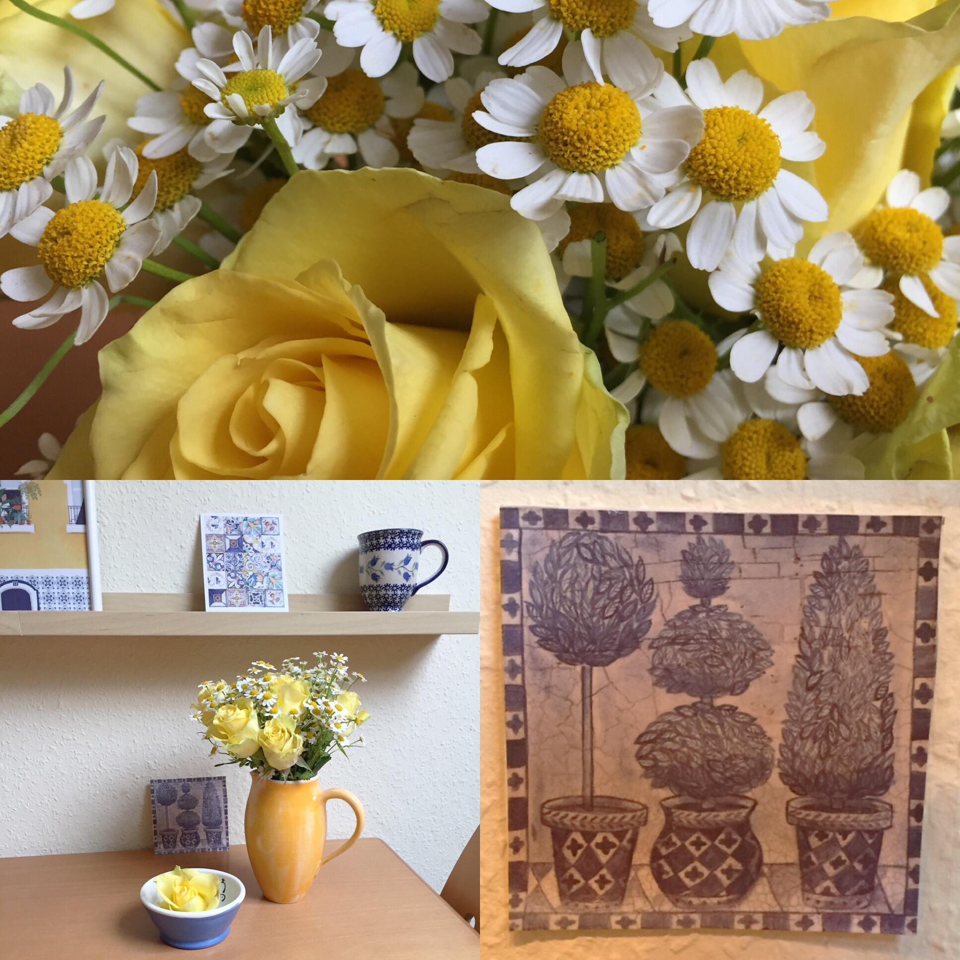 Von Delfter Kacheln aus Papier und gelben Rosen – oder – Blau und Gelb dekoriert
