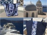 Blauweiße Geschichten – oder – Santorini, Strandtasche,Upcycling