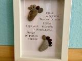 Basteln mit Steinen: Gerahmte Botschaft – oder – Von der Natur geschenkt:Steinbilder