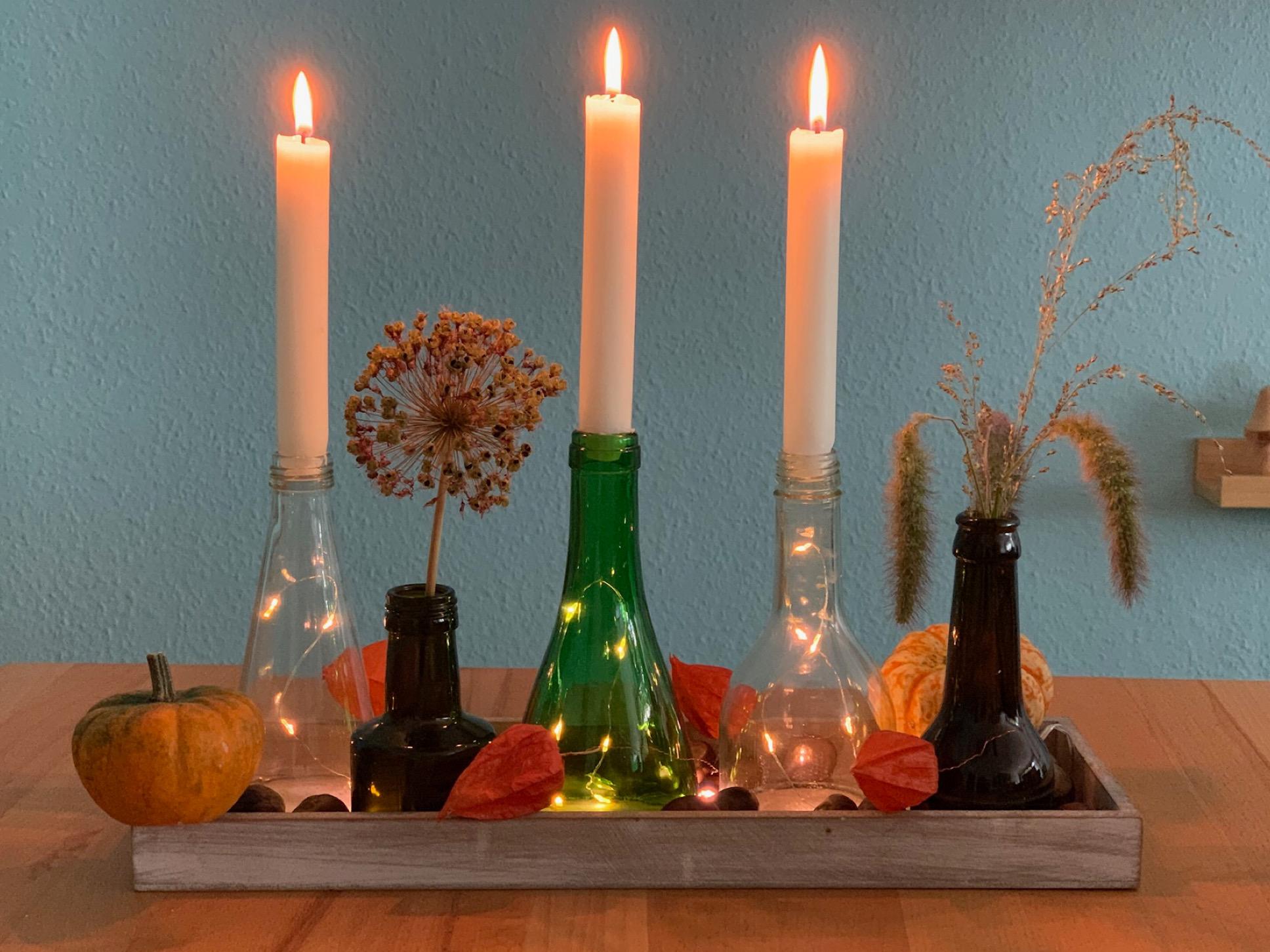 Kleines Flaschen-Upcycling – oder – Vom Altglas zum  Kerzenhalter